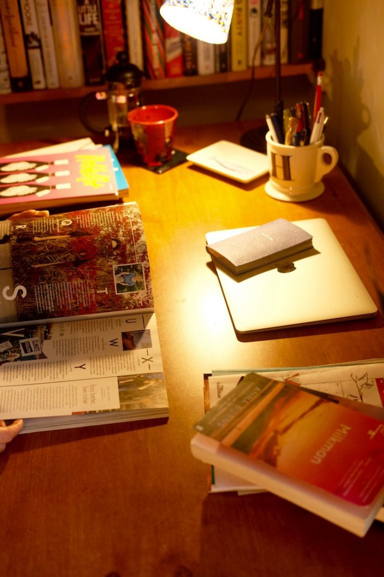magazines on desk
